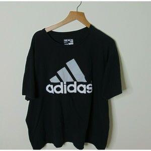 Adidas 2XL Short Sleeve T-Shirt Big Logo Tee Black